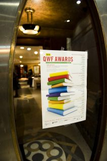 Awards poster on glass door