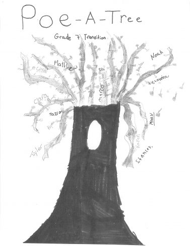 Hand-drawn tree in black on white