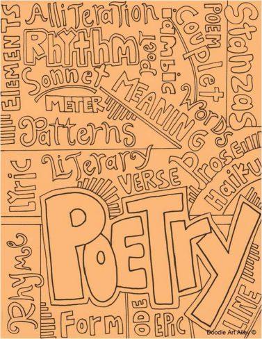 typographic collage on orange background